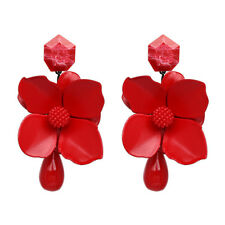 US SELLER SHIP FROM NYC 3d red floral dangling  FASHION Earrings