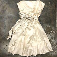 Max Azria Silk Dress Strapless Cream White Tied Ribbon Bow Party Champagne  12