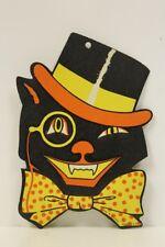 Vintage Halloween Cat w Top Hat & Monocle Embossed Die Cut He Luhrs Nice!