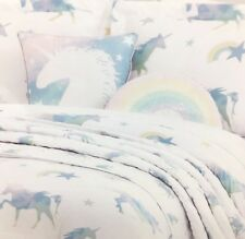 5pc Unicorn Rainbow TWIN Set Comforter Quilt Coverlet Sham Pillow Sequin Envogue