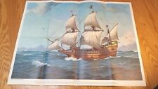 Mayflower Ii Ship Print Poster Nat Geo Society 1957 19x24 H. Smith Painting