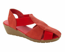 WOMENS DOWN TO EARTH RED COMFORT ELASTICATED WEDGE SANDALS SHOES LADIES SIZE 3-8
