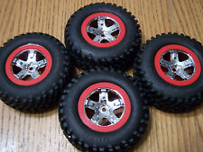 4- 1/10 Traxxas Slash 2wd Tires & 12mm Red Chrome Wheels VXL XL5 Raptor SC10 4wd