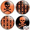 """Orange Skull & Crossbones 1.25"""" Pinback Button BADGE SET Novelty Gift Pins 32 mm"""