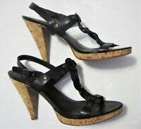 KORS Michael Kors Women's sz 8M Black Leather & Cork Hi Heel Strappy Sandals