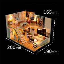 3D DIY Dollhouse Miniature Furniture Wood Doll House Kit Kid Gift w/ LED Light!