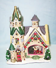 Porcelain Lighted Christmas Village Glass Window House by Enchanted Forest 2006