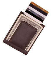 Brown Genuine Leather Money Clip Strong Magnetic Thin ID Card Wallet Flat