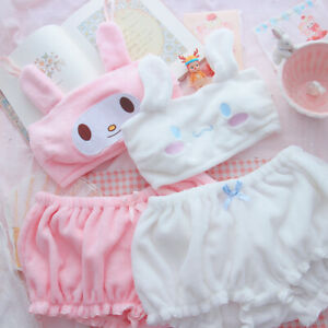 Lady Girl Kawaii Velvet Tube Bra Top + Knicker Bloomer Panties Nighty Pajama Set