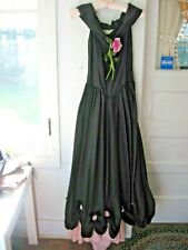 VINTAGE 1940s BLACK/PINK TAFFETA EVENING GOWN - XS - A BEAUTIME FORMAL, NY