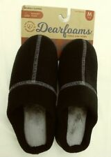 Dearfoams Wos Slippers Memory Foam Medium US 7/8 Black Slip-on Hard Sole 1815