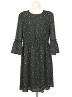H&M Women's Size 10 Gray White Black Shift Dress Polka Dot 3/4 Sleeve Flounce