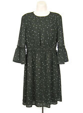 H&M Shift Dress Size 10 Gray White Black Polka Dot 3/4 Sleeve Flounce Scoop Neck