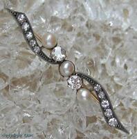Perlenbrosche Diamantbrosche Brosche mit Perlen Perle Diamant in 585 Gold .