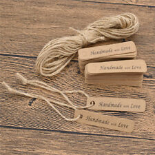 100 Pcs Kraft Paper Label Tags Blank Hangtags Handmade with Love Cards for Gifts