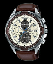 EFR-539L-7B White Casio Edifice Men's Watches New Model 100M Leather Band New