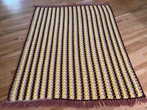 "Vintage 70's Yellow Brown Striped Grandma Crochet Afghan Blanket Fringed 82x67"""