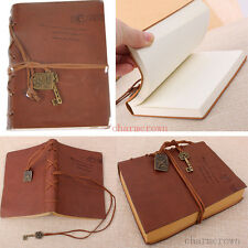 2PC Classic Vintage Retro Leather Journal Travel Notepad Notebook Blank Diary UK