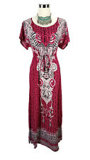 BARDOT Dress - Vintage Retro Style Boho Hippy Maxi Pink White Black Floral - 10