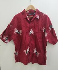 No Boundaries XLarge Mens Dice Button Up Shirt Red Maroon