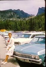 Classic Car Woman Rest Stop 1966 Vintage Kodachrome 35mm Slide Photo