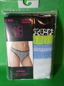 NOBO No Boundaries Thong Panties Underwear Womens Junior Size XS 6 Pair Pack