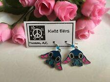 Silvertone Lilo & Stitch Blue with Pink Ears STITCH Sitting Pose Dangle Earrings