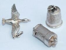 3 x VINTAGE STERLING SILVER CHARMS FOR BRACELET GOOSE / DUCK POST BOX THIMBLE