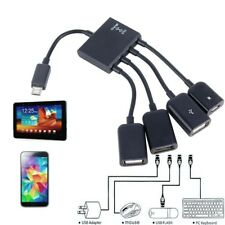 4 Port Micro USB Power Charging OTG Hub Cable For Android Tablet Smartphone .