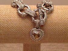 "Judith Ripka Sterling Silver Link Bracelet with Citrine Heart - 7 1/2"""