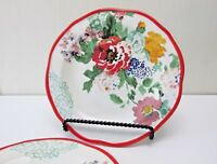 Pioneer Woman Salad Plates Set of 2 Country Garden Floral 8.5 in Red Trim NEW