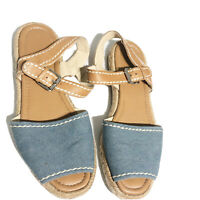 Marc Fisher Womens Blue Brown Leather Espadrilles Sandal Size 8.5M Ankle Strap