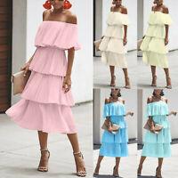 Fashion Women Chiffon Off Shoulder Ruffles Solid Evening Party Layered Dress New