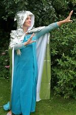 Shiny Silver Cape Cosplay Elfin Hood Frozen Dressup Long Cloak Costume Halloween