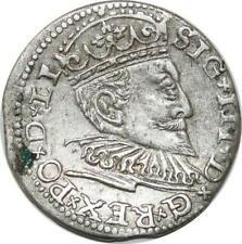 P4530 Rare Poland Lettland Riga 3 Gröscher Trojak Sigismund III 1594 Silver AU