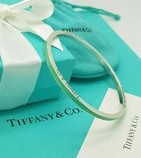 Tiffany & Co. RARE Silver Enamel Logo Note Italy Bangle Bracelet, UK Hallmarked