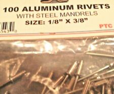 """100 Pieces 1/8"""" x 3/8"""" Aluminum Pop Rivets with Steel Mandrels Free Ship in Usa"""