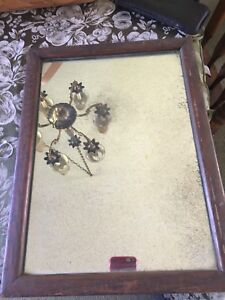 "Antique ARTS & CRAFTS WALL MIRROR Wooden Frame  15 1/2 "" x 11 1/2 ""1917"