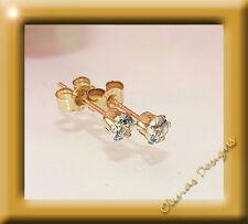 März Geburssteine 375 Gold Ohrstecker Brillant Fassung 4,00 mm 1 Paar Aquamarin