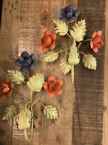Vintage Pair Italian Toleware Painted Metal Flowers Wall Sconces Italy