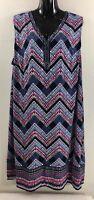 JM Collection Womens Size 3X Dress Blue Knee Length Shift Geometric Pattern Bead
