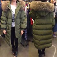 Women winter big Fur collar Hood long jacket duck Down Parka Coat outwear