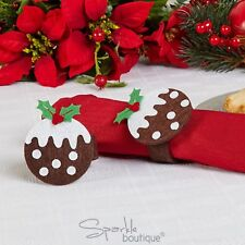 CHRISTMAS PUDDING NAPKIN RINGS - Xmas Party/Dinner - Festive Felt Decorations