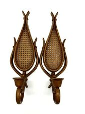 Vtg Rattan Wicker Style Plastic & Wood Paddle Wall Sconces Taper Holders 15""