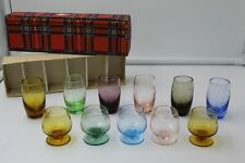 Vintage Etched Multi Colored Cordial and Shot Glasses