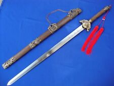 Chinese Damascus steel blade/four images and Tai Chi sword Rosewood scabbard