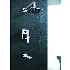 """Luxury Bathroom 8"""" Rainfall Shower Faucet Tub Mixer Tap 3PCS Shower Set Chrome"""