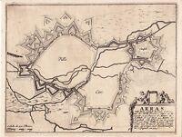 Gravure XVIIe 1695 Arras Citadelle Nicolas de Fer Comté d'Artois Pas de Calais