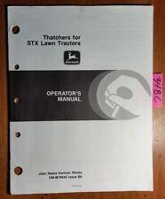 "John Deere 30"" 38"" Thatcher Stx Stx30 Stx38 Lawn Tractor Operator's Manual 3/89"