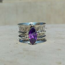 Amethyst Ring 925 Sterling Silver Spinner Ring Meditation Statement Jewelry A51